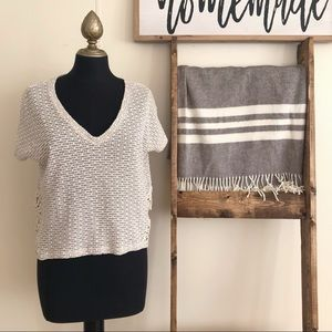 American Eagle Knit Lace Short Sleeve Crop Top